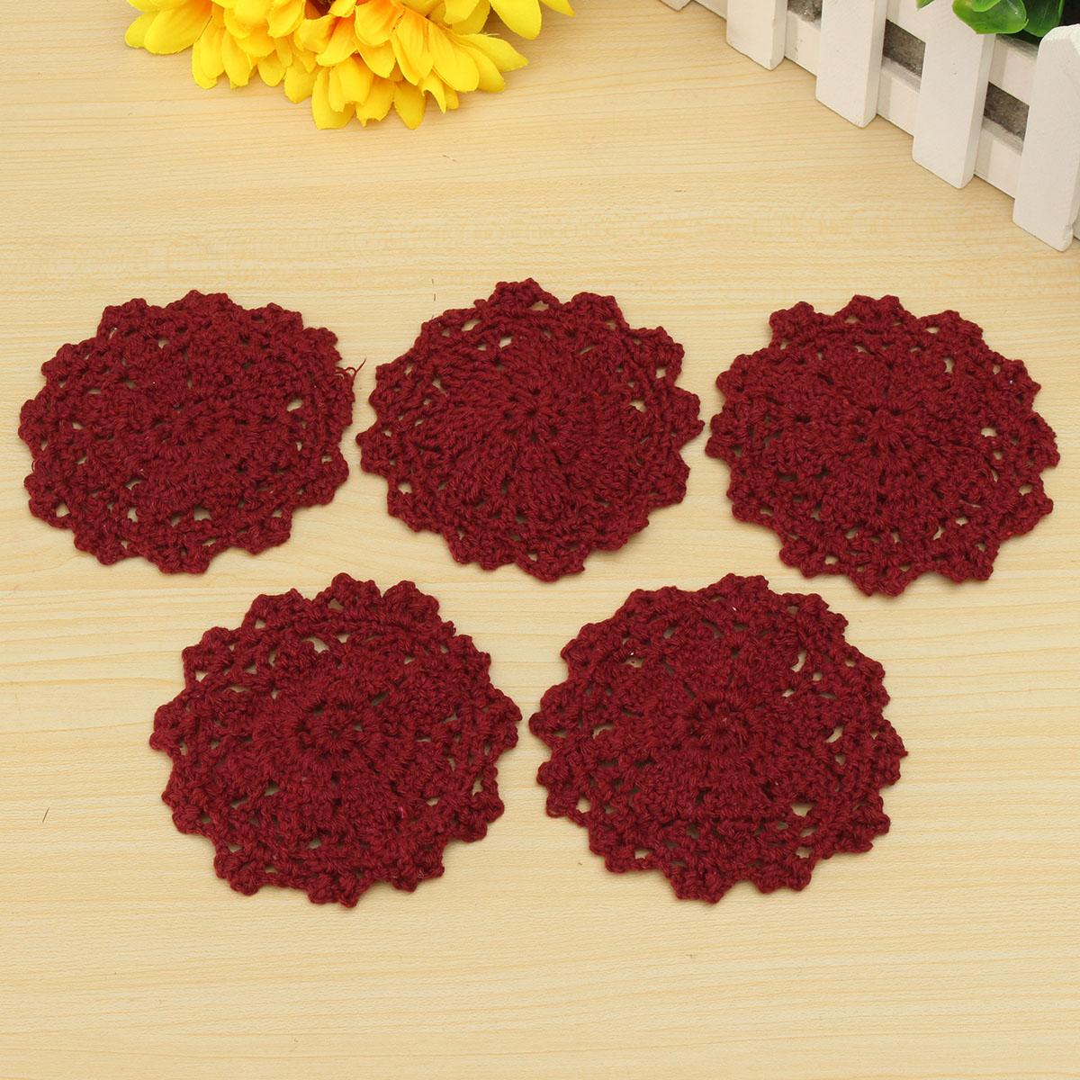 Round Table Mat Crochet Coasters Doilies Cup Pad Photo Prop