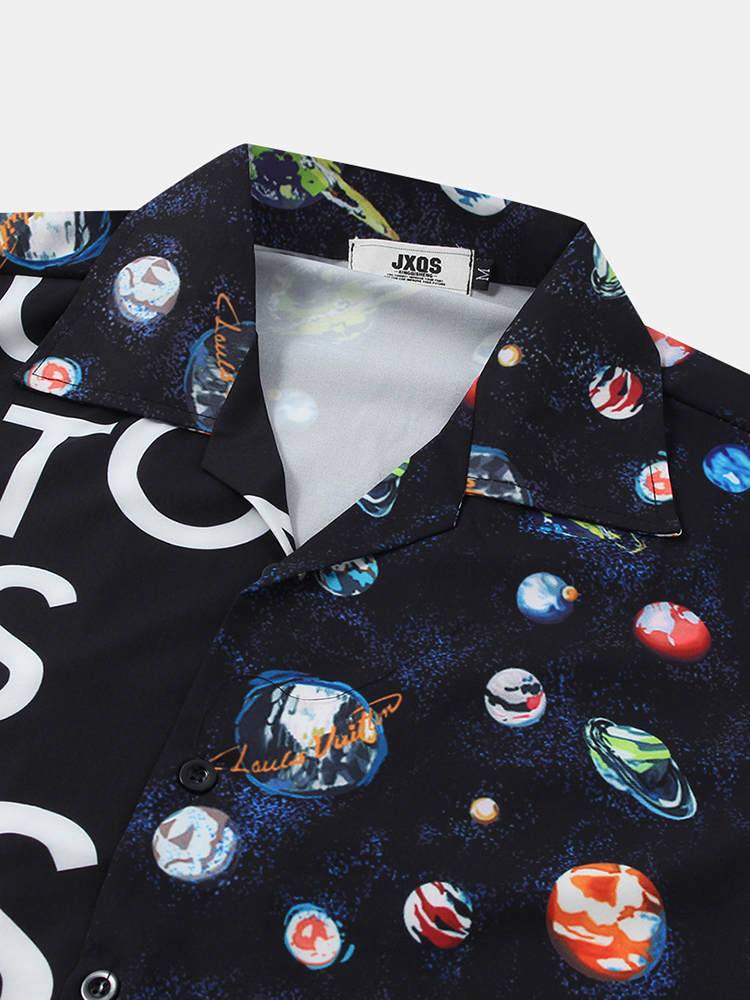 Mens Fashion Funny Pattern Letter Printing Patchwork Breathable Short Sleeve Casual Shirts