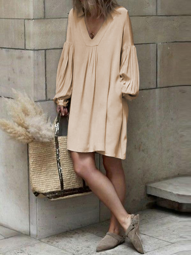 Women Casual Long Sleeve V Neck Pure Color Dress