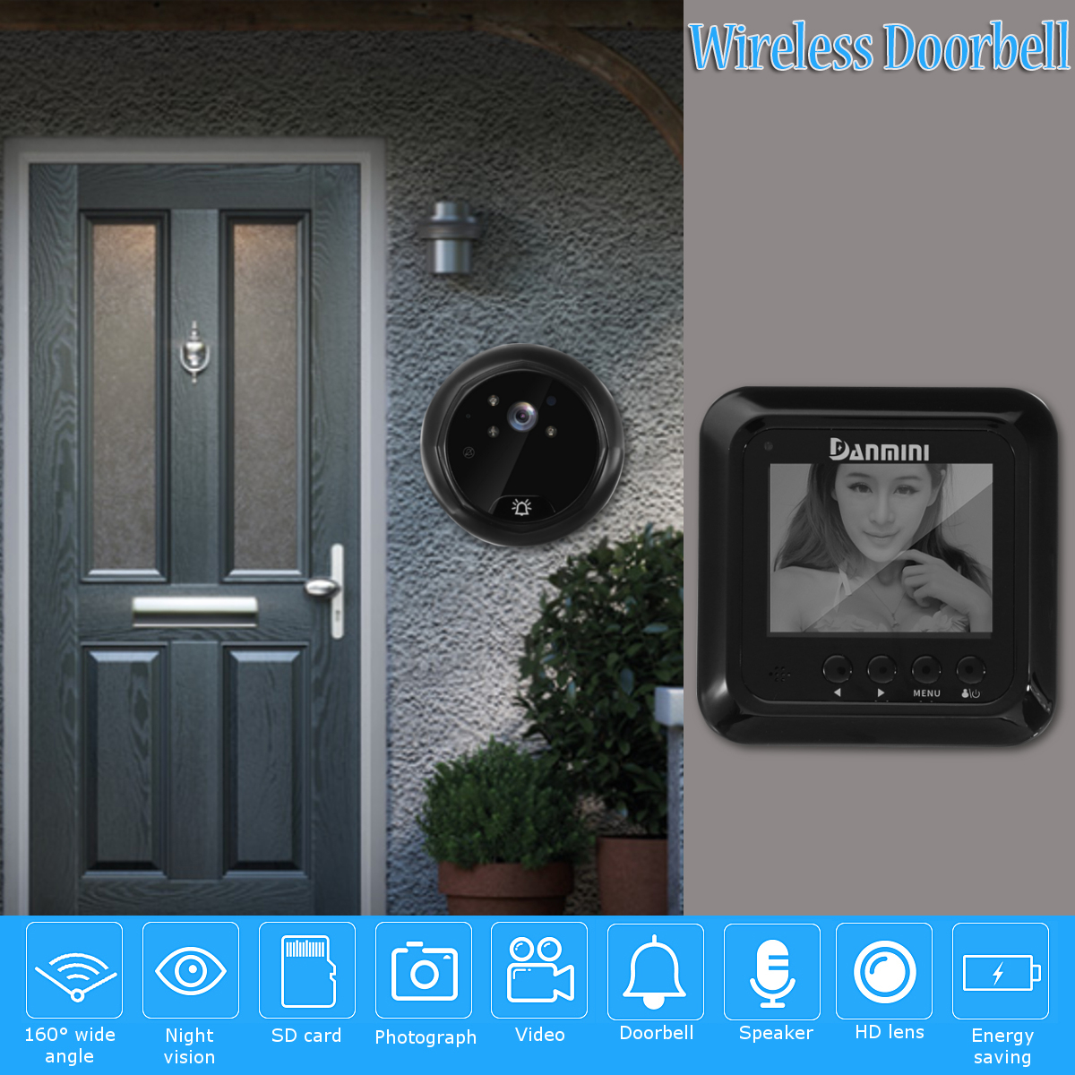 Wireless Video Doorbell Night Vision Video Camera IR Intercom Security Smart Door Bell