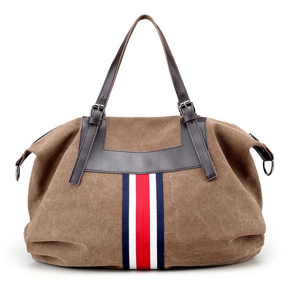 Women Vintage Canvas Tote Handbags Contrast Color Shoulder Bags Capacity Shopping Crossbody Bags