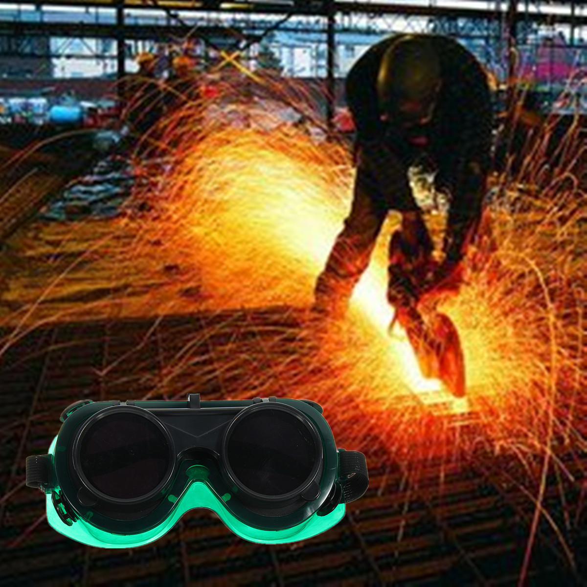 Welding Cutting Welders Safety Solder Goggles Glasses Flip Up Dark Green Lenses