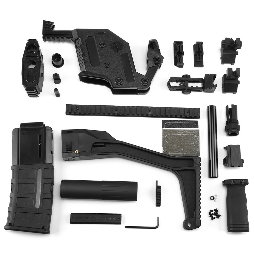WORKER MOD Kriss Vector Imitation Kit 13 Items w/ Tactical Quick Deploy Flip Up Scope Part For Nerf