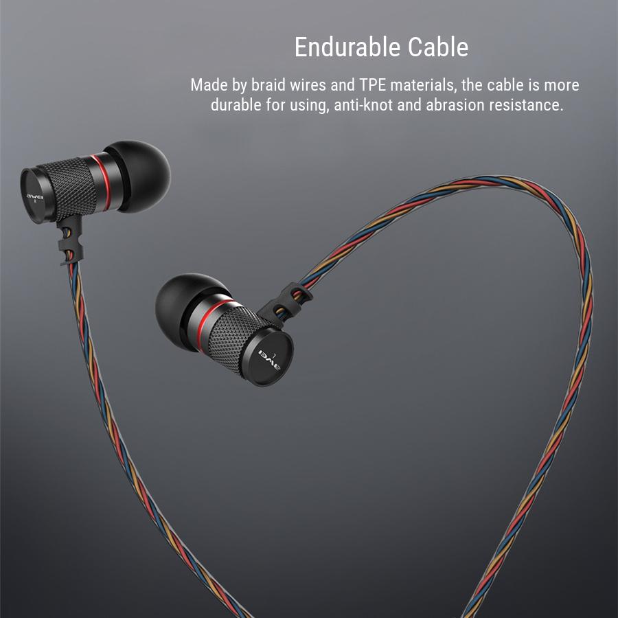 AweiES-660iУхолегкийпроводнойконтроль High Fidelity Bass Наушник с микрофоном