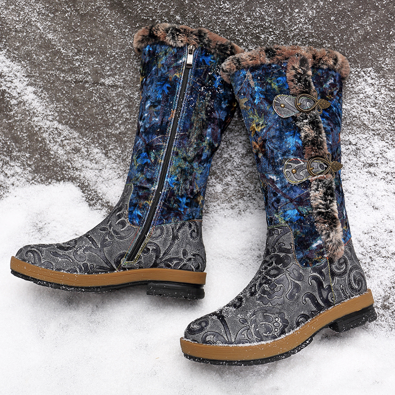 SOCOFY Leather Winter Lining Warm Zipper Boots