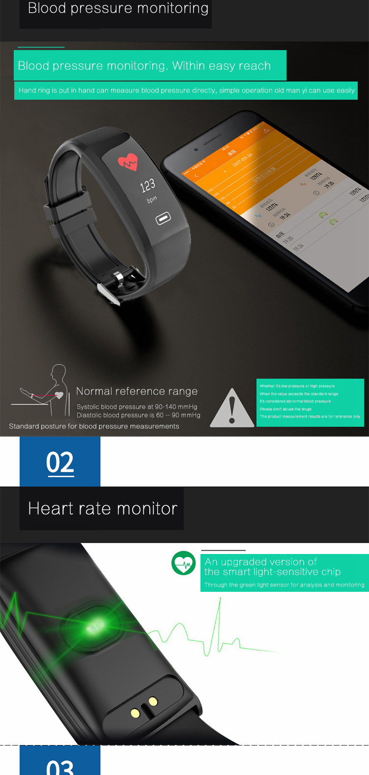 Bakeey X4 Plus Blood Pressure Oxygen Heart Rate Monitor bluetooth Smart Wristband For IOS Android