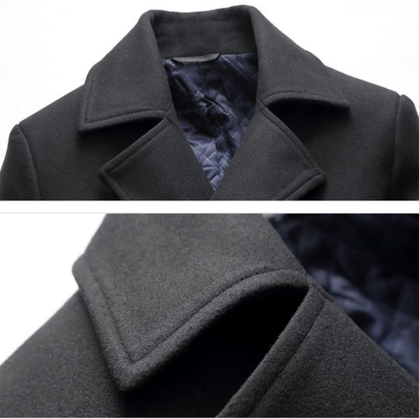Mens Mid-long Winter Thick Warm Fashion Slim Double Breasted Trench Coat Jacket
