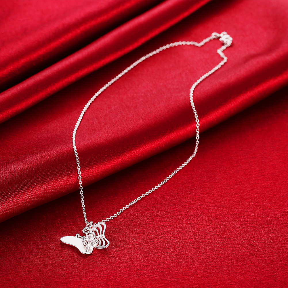 YUEYIN Trendy Sweet Butterfly Zircon Silver Clavicle Necklaces