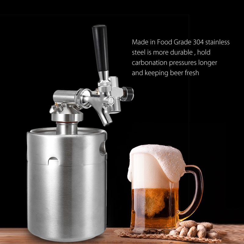 KCASA KC-BK8 4L/2L Stainless Steel 304 Beer Mini Keg Homebrew Keg Mini CO2 Regulator Air pressure Faucet Can Red Wine Brewing Bottle Wine Making Tools