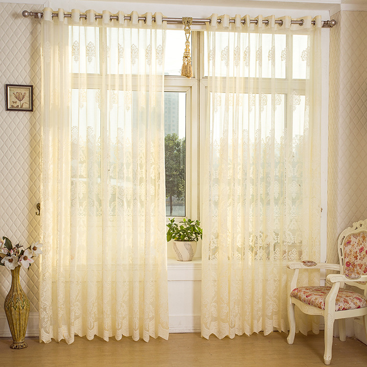 2 Panel Beige Hollow Out Sheer Tulle Curtains Window Screening Breathable Bedroom Study Home Decor