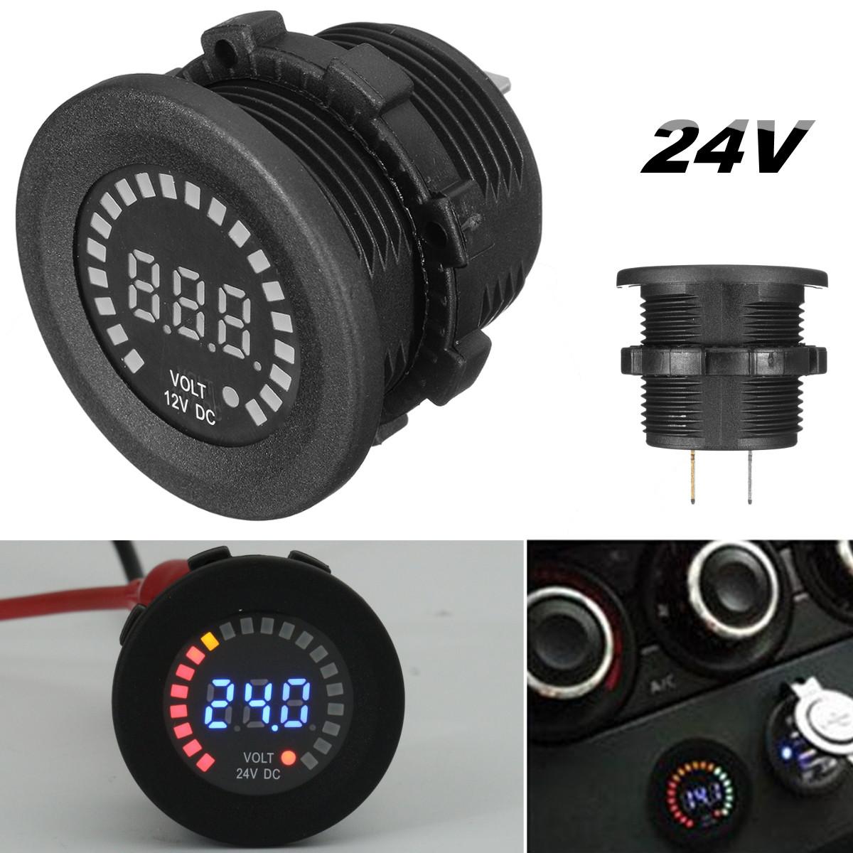 24V Waterproof Auto Car Motorcycle Red Led Digital Volt Meterr Meter Tester