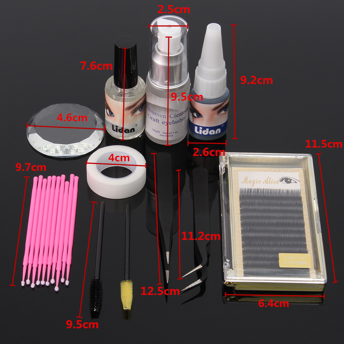 11pcs Eyelash Extension Set Individual Tweezers Glue Eye Lash Brush Mascara Applicator Makeup Case