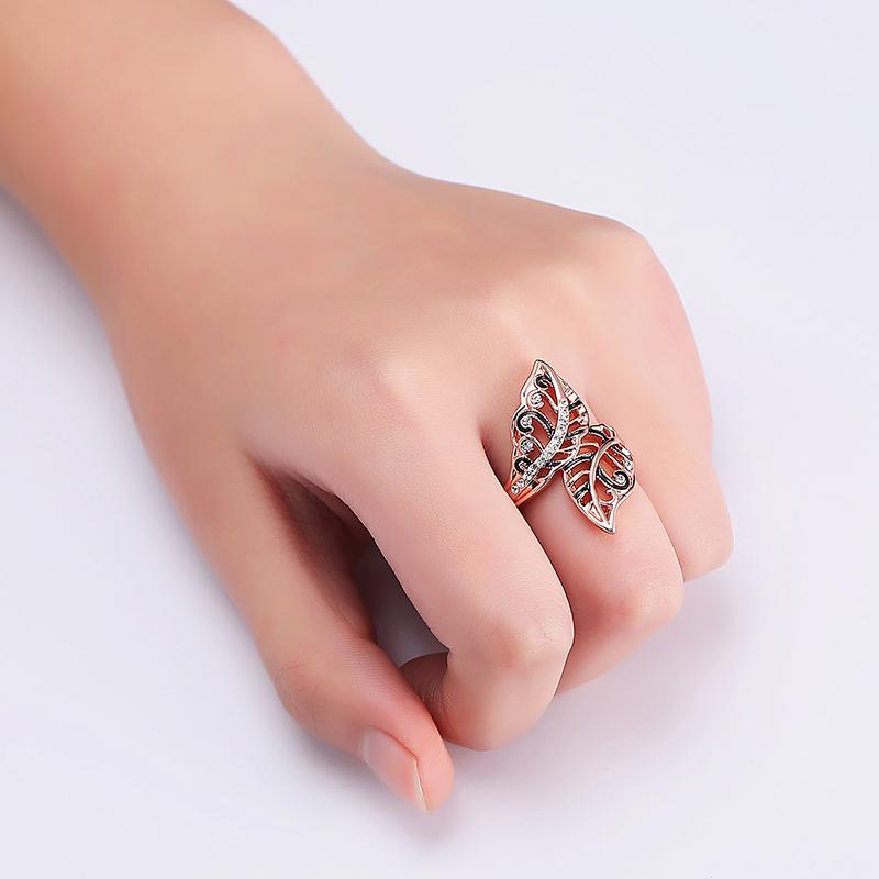 Ladies Vivid Leaves Rose Gold Stylish Ring Gift Black Enamel Rhinestone Ring Women Jewelry