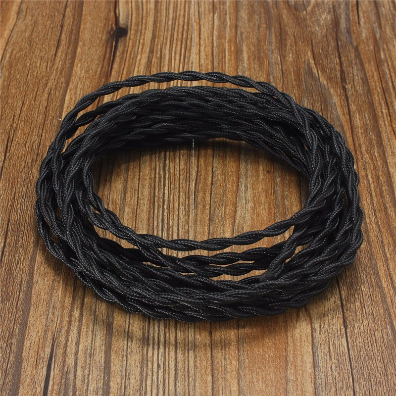 10M Vintage 2 Core Twist Braided Fabric Cable Wire Electric Lighting Cord
