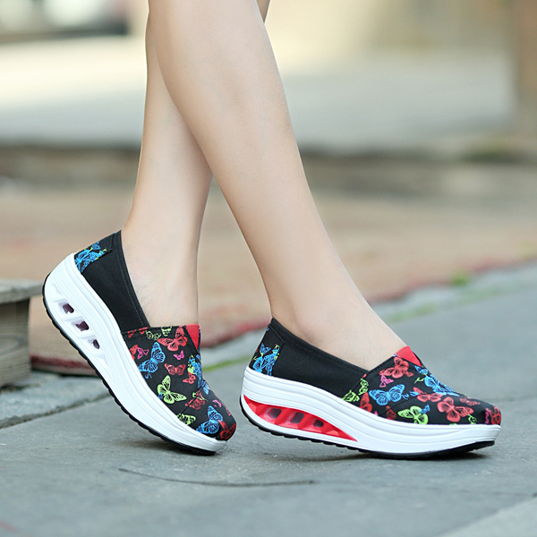 Women Casual Rocker Sole Shoes Sport Flat Outdoor Breathable Athletic Shoes