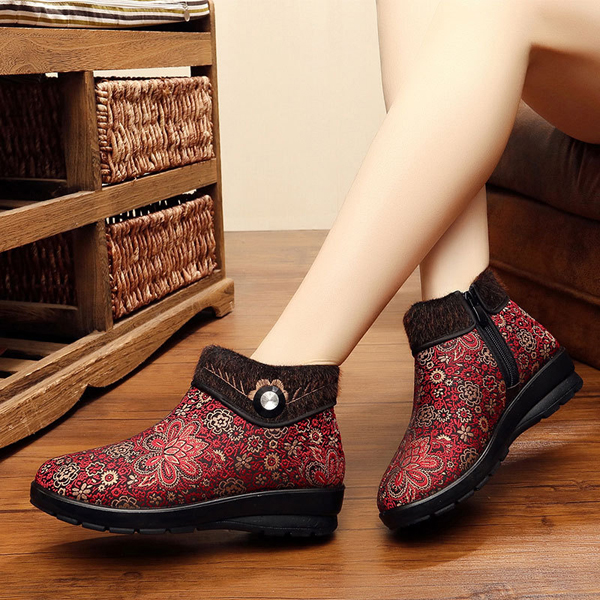 Floral Zipper Artificial Fur Lining Warm Ankle Short Snow Boots For Women