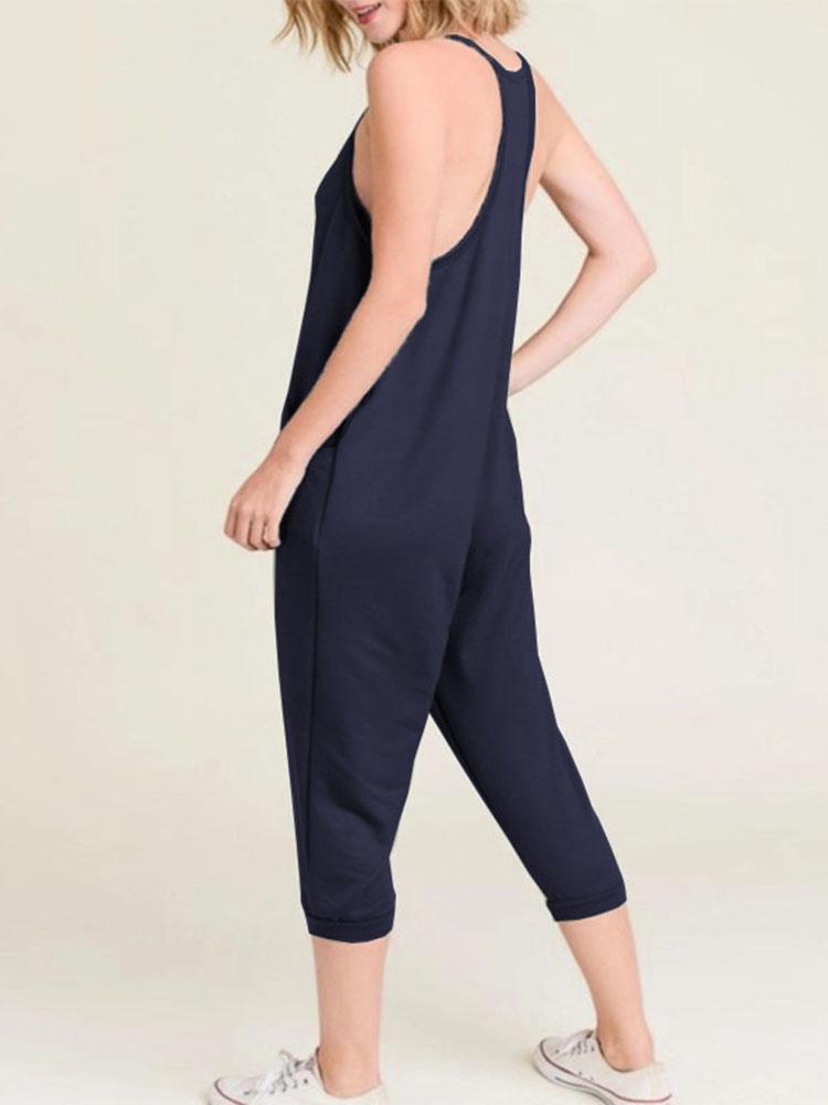 Women Solid Color V-Neck Sleeveless Harem Pants Jumpsuit