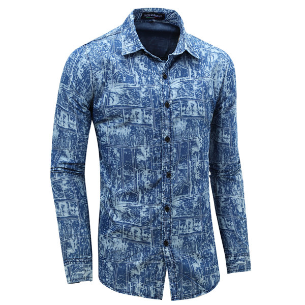 Denim Printed Fashion Casual Stylish Turn-down Collar Shirt For Men