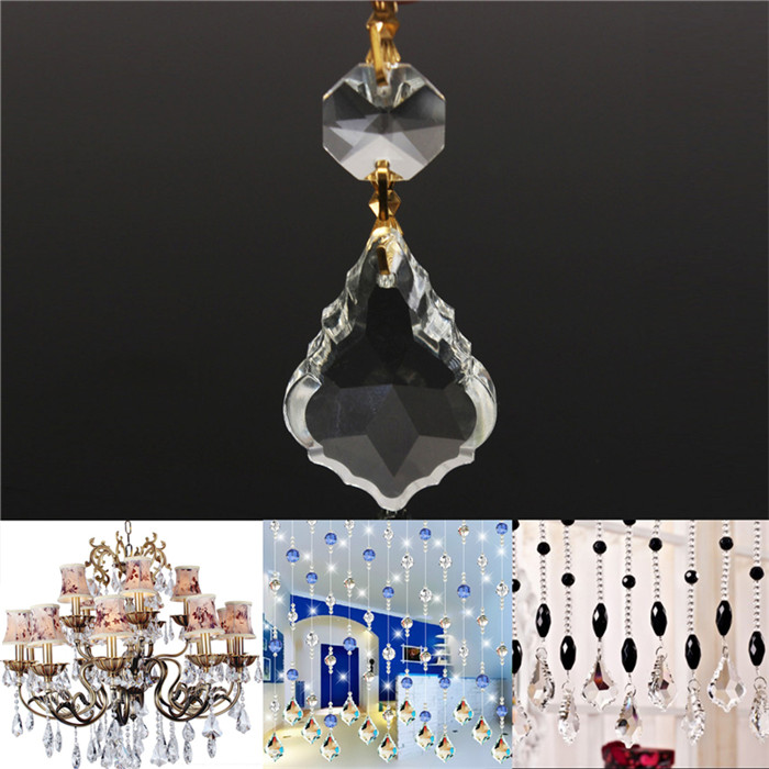 1 Pcs Clear Crystal Glass Maple Leaf Lamp Prisms Part Decoration Pendant Hanging 38x26mm