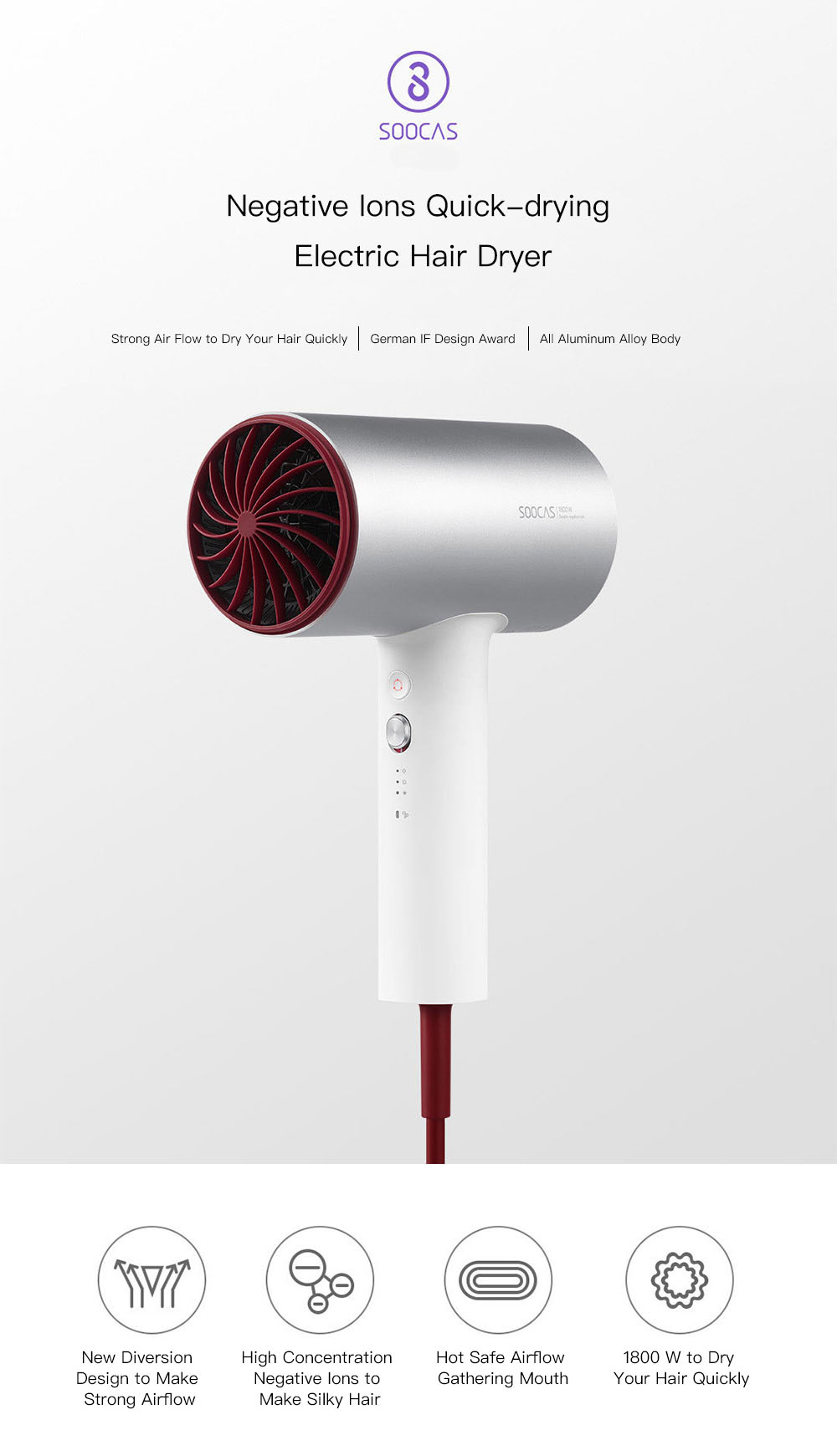 XIAOMI SOOCAS H3 Anion HairDryer Aluminum Alloy Body 1800W Air Outlet Anti-Hot Innovative Diversion Design