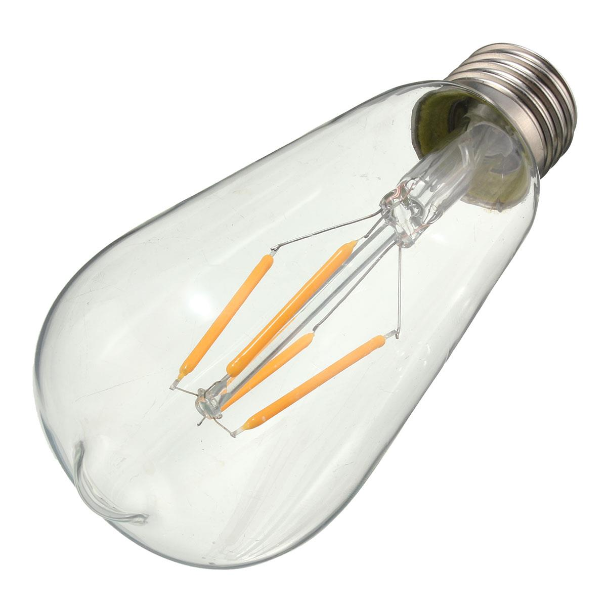 Dimmable Vintage Retro E27 ST58 4W LED COB Warm White Filament Edison Bulb 110V 220V