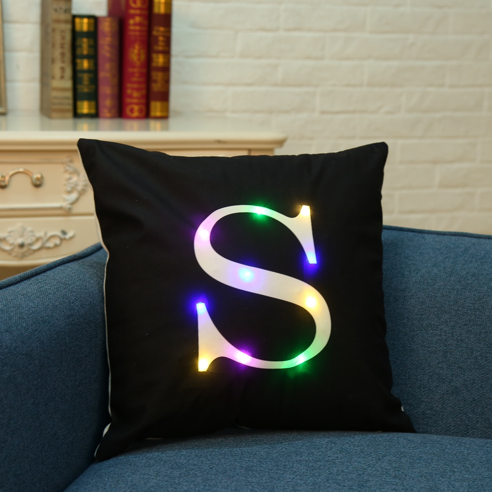 Honana WX-K33 Creative LED Lights Letter Pillowcase Plush Soft Pillow Cushion Cover Christmas Home Decor