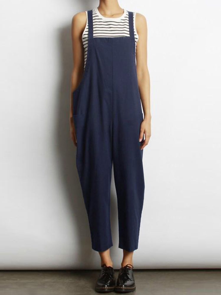 Women Sleeveless Cross Back Overalls Jumpsuit with Pockets