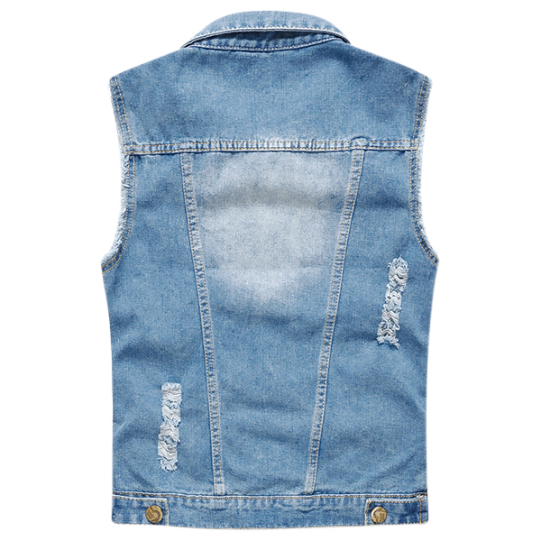 Mens Ripped Denim Vest Light Blue Fashion Personality Slim Fit Plus Size Sleeveless Coat