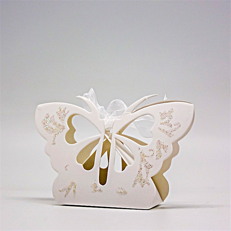 12Pcs Paper Butterfly Hollow Out Ribbon Candy Box Gift Party Wedding Favors