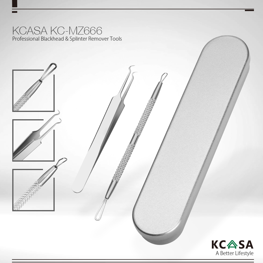 KCASA KC-MZ666 Multipurpose Blackhead Extractor Tools Kit Pimples Acne Splinter Remover Tweezers