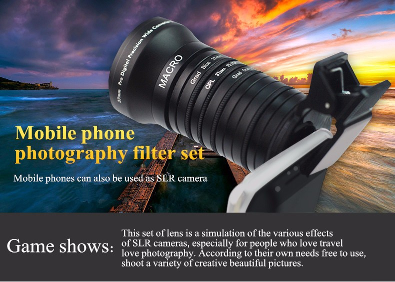ASZUNE 11-in-1 Wide Angle Macro Lens Gradient Filter Camera Lens Kit With Clip For Smartphone