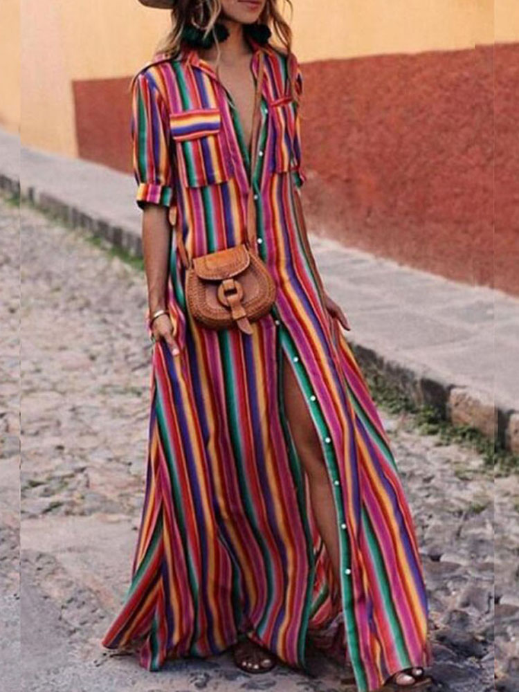 Women Rainbow Stripe Beach Button Down Shirt Maxi Dress
