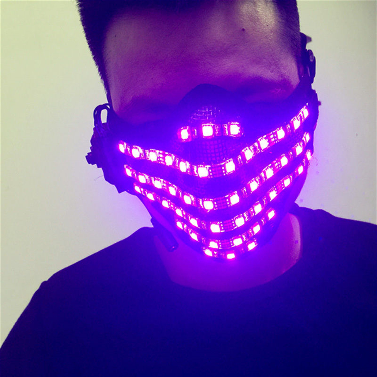 Wireless Control 7 Colors DJ Party Festival Halloween Costume LED Face Mask