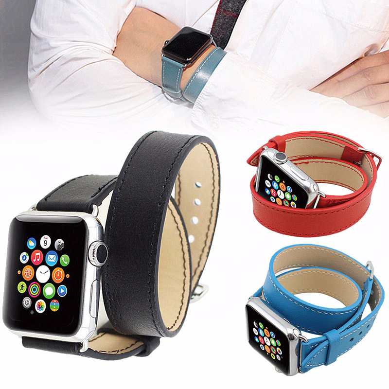 Long PU Leather Band Double Tour BraceleT-strap Watch Band For Apple Watch 38/42 mm