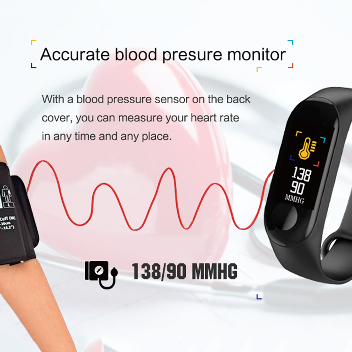 Bakeey M3 Waterproof Heart Rate Blood Pressure Monitor Camera Control USB Charging Smart Watch