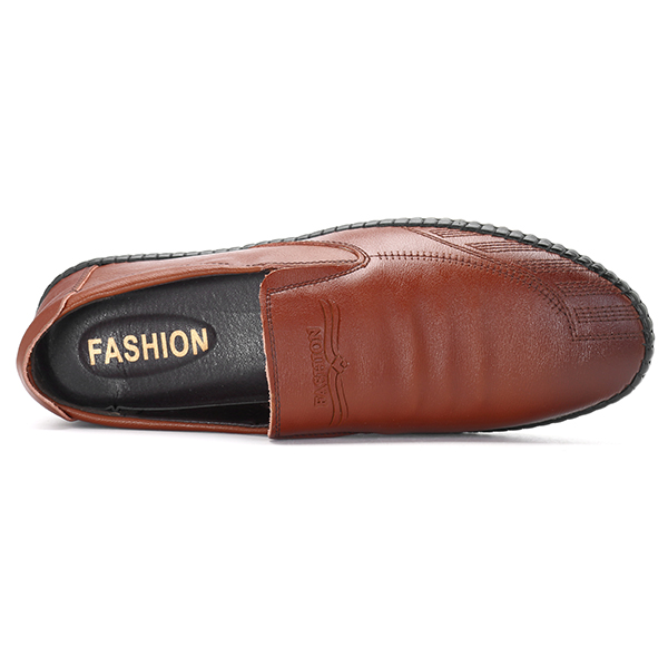 Men Soft Sole Leather Slip On Flat Oxfords