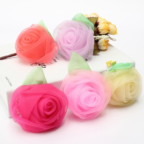 Girls Kids Chiffon Rose Flower Hair Accessories Clip Hairpin Hair dress Decorate