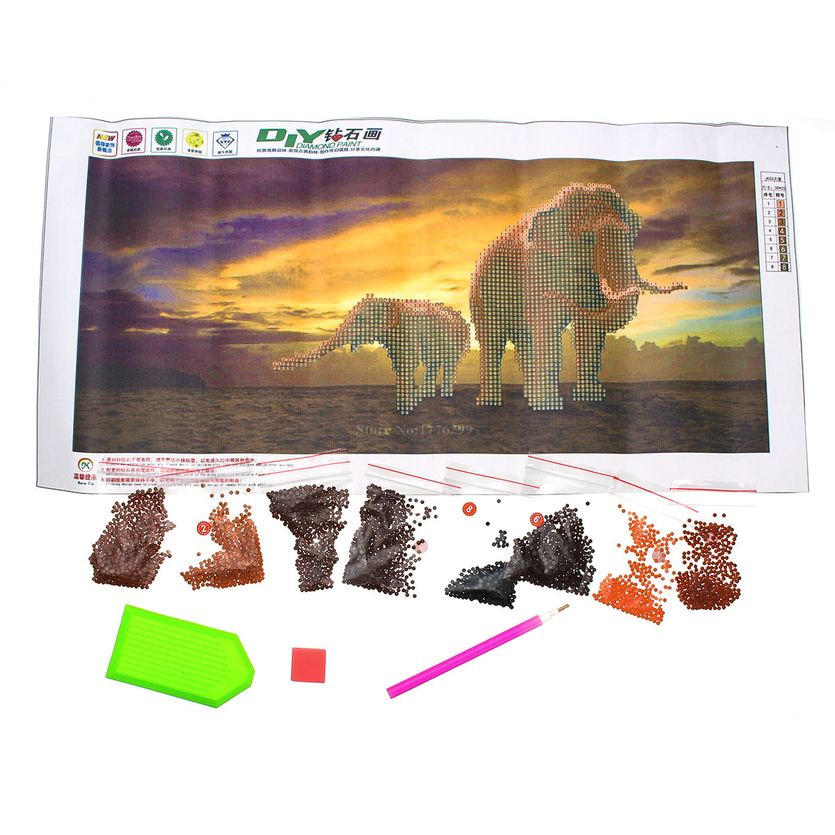 Elephant Dawn Landscape Diamond Cross Stitch DIY New 5D Diamond Paintings Paper Art