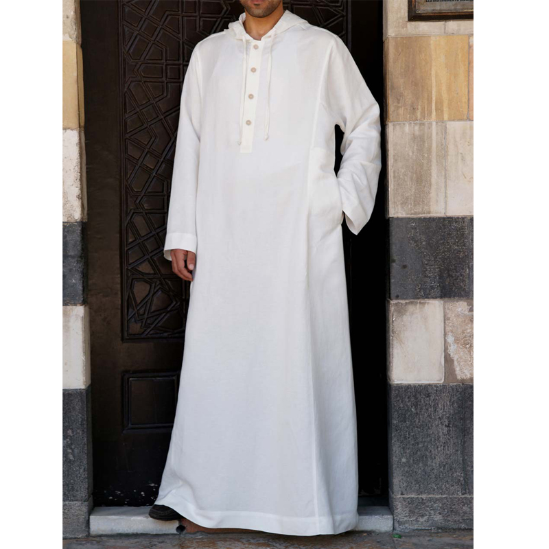 TWO-SIDED Mens Kaftan Vintage Loose Hooded Long Dress Tops