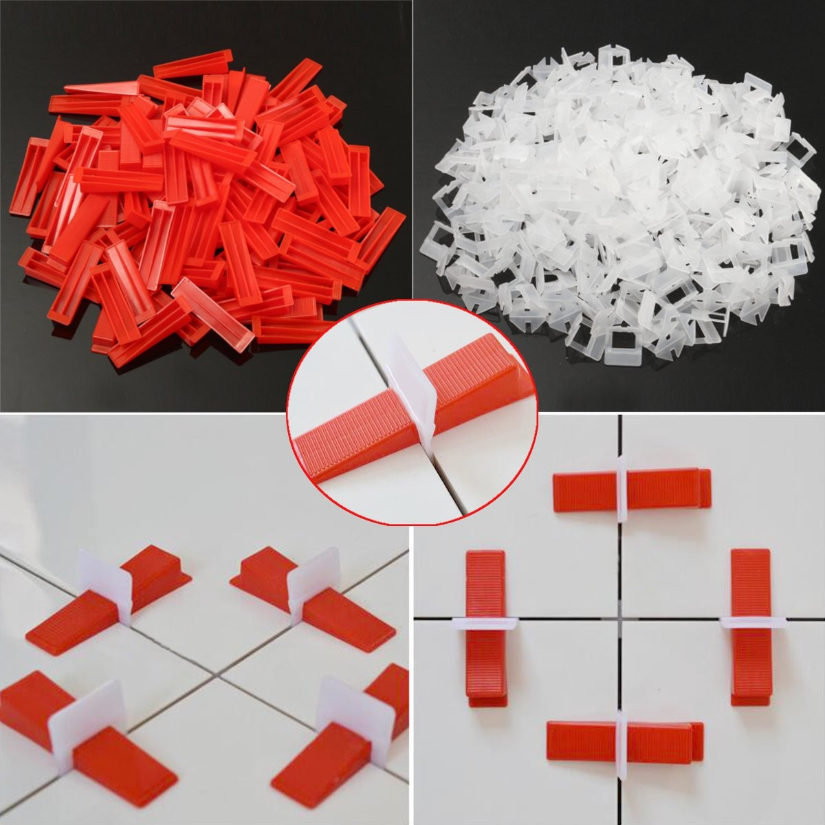 800Pcs Tile Leveling Spacer System Construction Tool Spacer-Flooring Level-Lippage Plastic Spacers