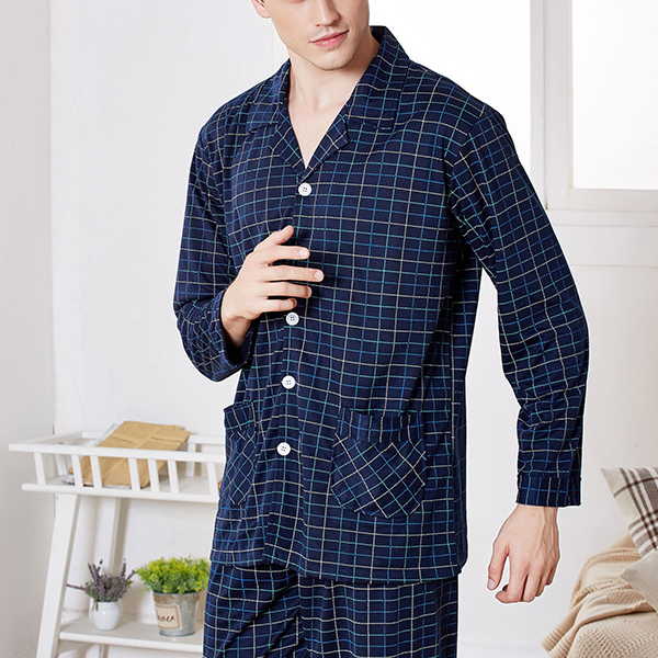 Spring Autumn Long Sleeve Cotton Soft Breathable Plaid Stripe Printing Men Sleepwear Suits