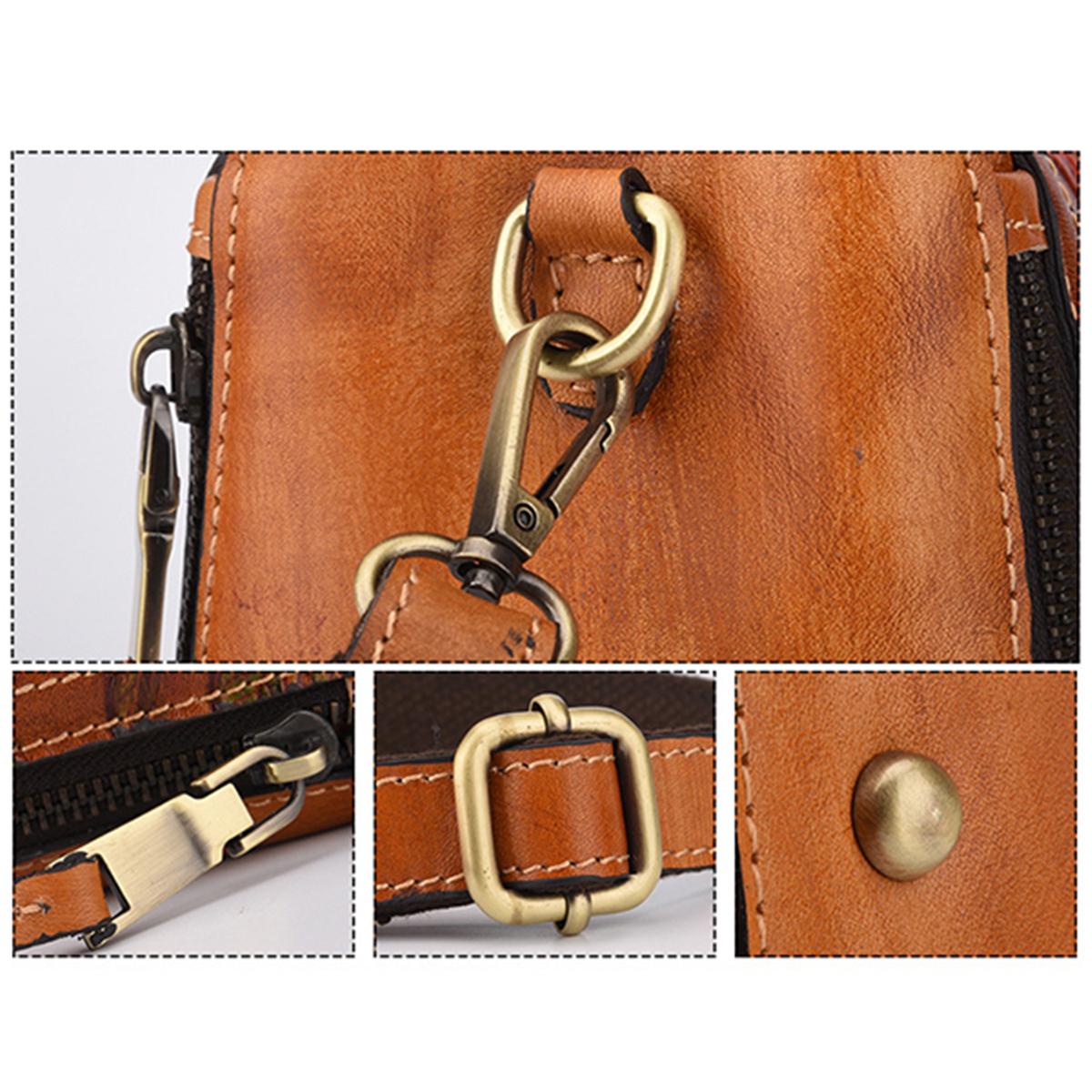 Brenice Women Genuine Leather Hand Embossed Crossbody Bag