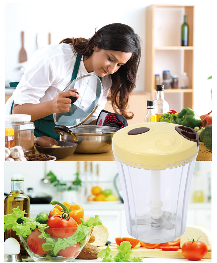 3 In 1 Multi-function Handheld Vegetable Chopper Mincer Blender Measuring Container Salad Food Tool