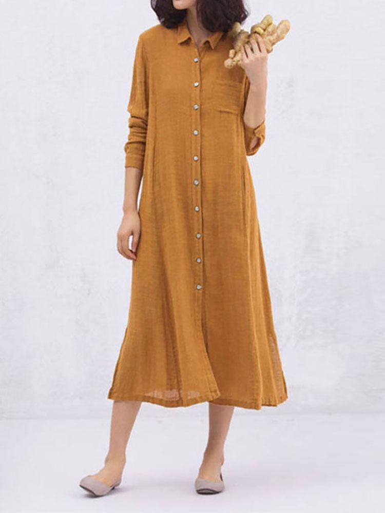 Women Cotton Long Sleeves Pockets Shirt Dress