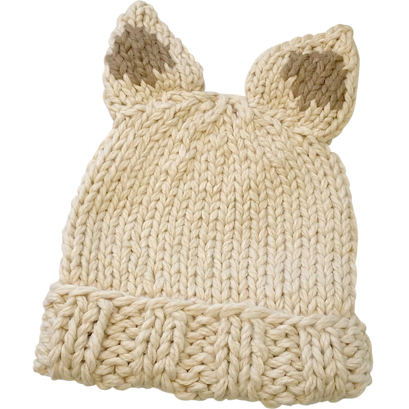Female Thickened Hand-Knitted Rabbit Ears Hat Christmas Hat