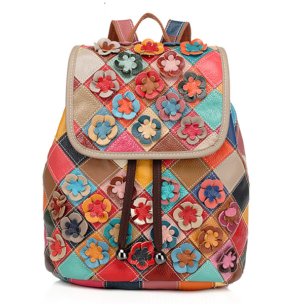 Women Cowhide Patchwork Flower Backpack