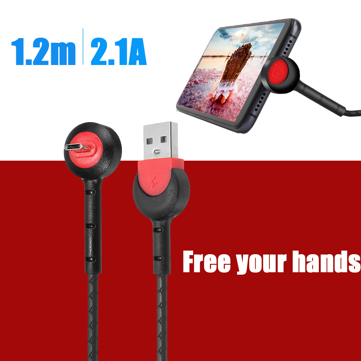Bakeey 2.1A Desktop Phone Holder Type C Fast Charging Data Cable 1.2M For Oneplus 6 5t Xiaomi Mi8 S9