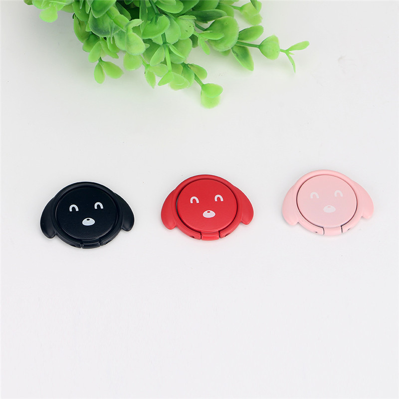 Universal Metal Lovely Dog Patern Foldable Desktop Phone Stand Finger Ring Holder for iPhone Xiaomi