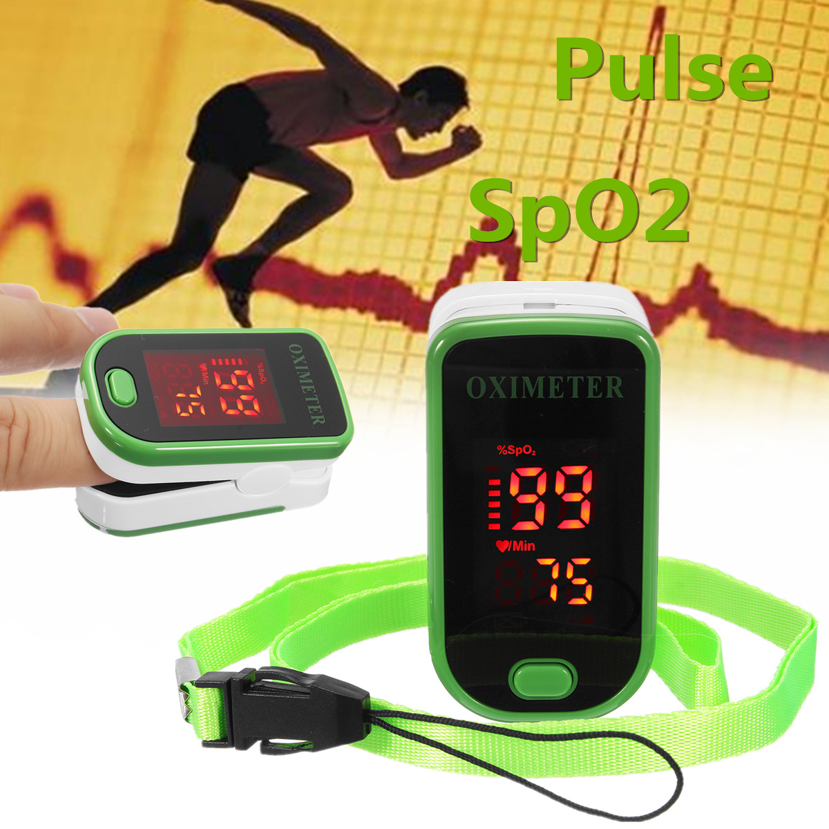 LED Display Healthcare Fingertip Pulse Oximeter Medical