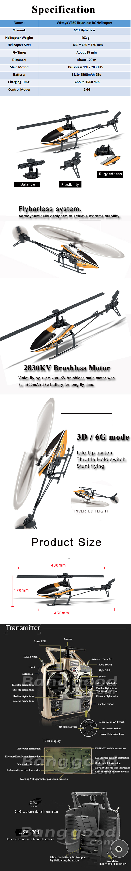 WLtoys V950 2.4G 6CH 3D6G System Brushless Flybarless RC Helicopter RTF